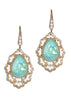 Swarovski Rock Crystal centered Moroccan motif earrings, Green Opal