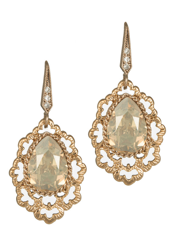 Swarovski Rock Crystal centered Moroccan motif earrings, Champagne