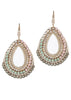 Mayan oval drop earrings lined with multi Swarovski crystals, Antique gold finish