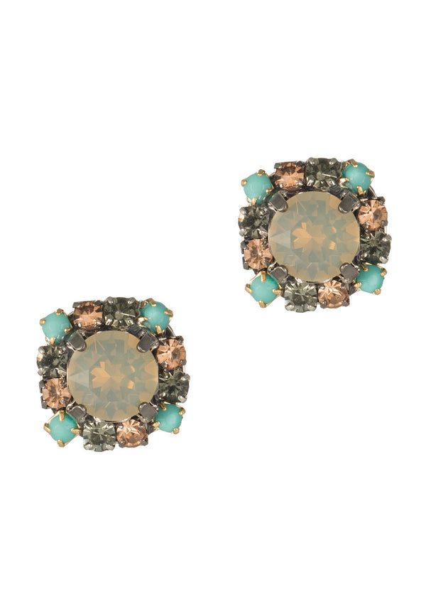 Square stud earrings with Gray opal Swarovski crystal center and turquoise accent frame