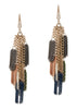 Modified tassel drop earrings in multi color chains, multi finish