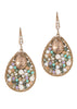 Vintage tear drop earrings studded with pearls, turquoise, CZ and opal Swarovski crystals, Rose quartz Accent