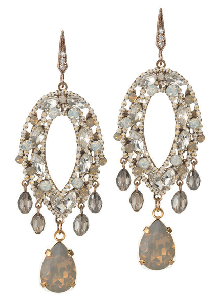 Mykonos chandelier earrings with Opal Swarovski crystals and CZ accented with a rock crystal drop, Antique gold finish