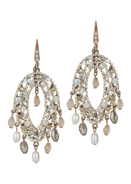 Chora chandelier earrings with pearls, CZ and Swarovski crystals, Antique gold finish