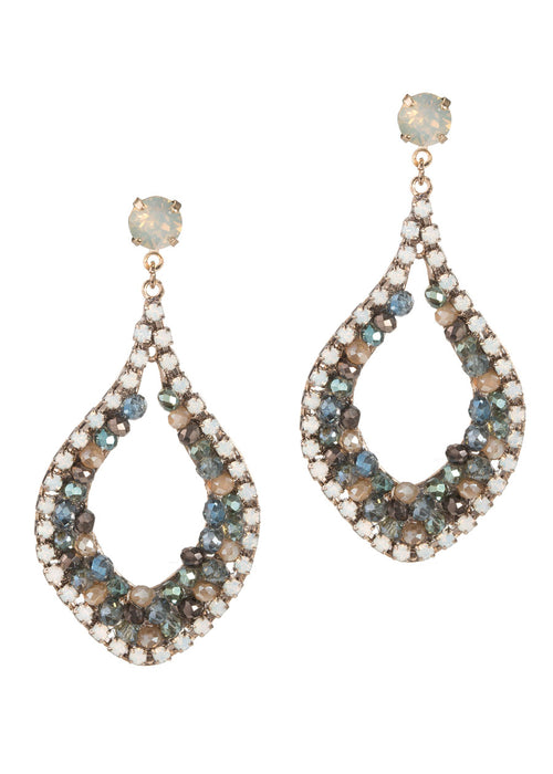Paros drop earrings with Opal and multi Swarovski crystals, Antique gold finish