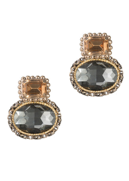 Venetian Stud earrings with Swarovski rock crystals, Antique gold finish. Topaz and Black diamond combo