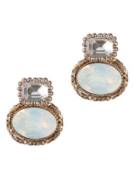 Venetian Stud earrings with Swarovski rock crystals, Antique gold finish. Clear and Gray Opal combo