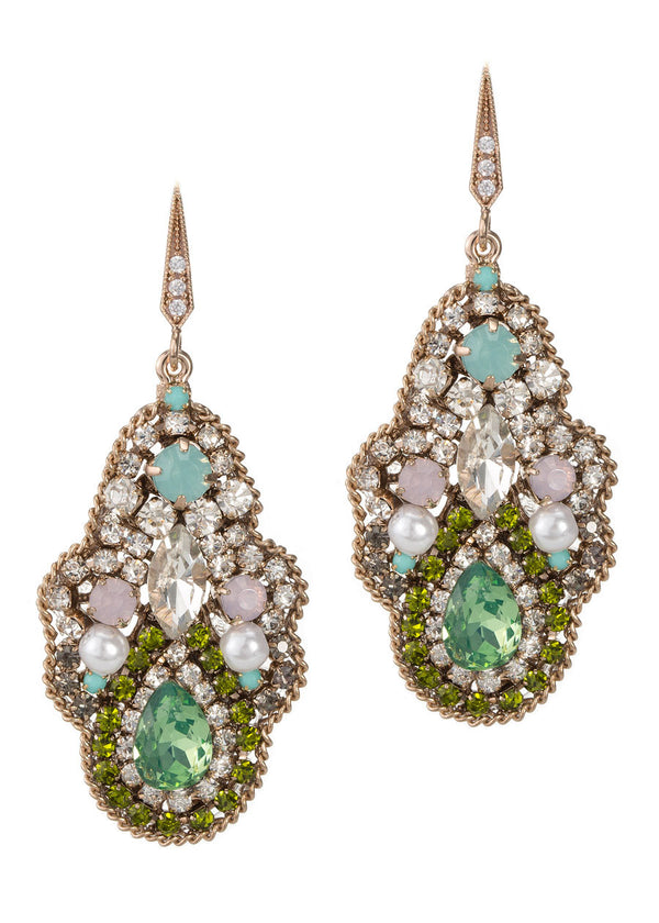 Moroccan garden earrings with multi Swarovski crystals, CZ and pearls, Antique gold finish