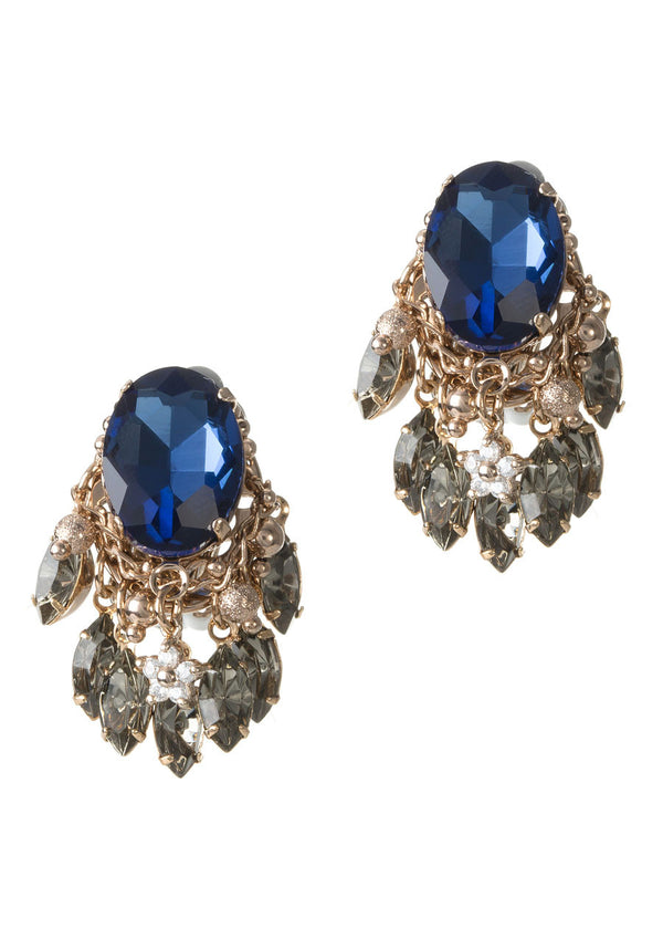 Oval Blue Sapphire rock Swarovski crystal clip on earrings with marquis cut black diamond drops, Antique gold finish
