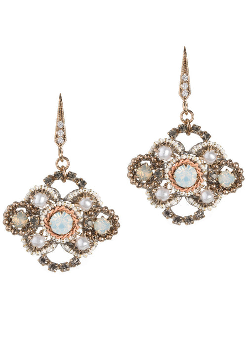Opal Swarovski crystal centered Victorian motif earrings with pearls, Antique gold finish