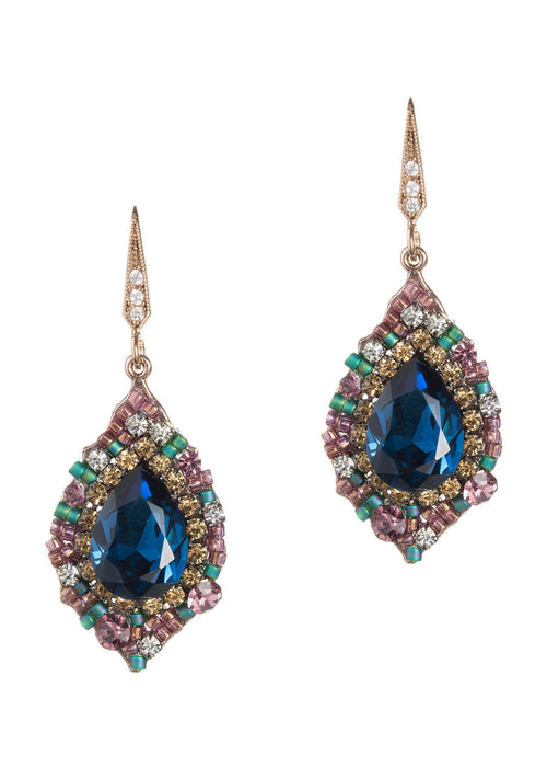 Blue Sapphire centered oval drop earrings with pink and green accents, Antique gold finish
