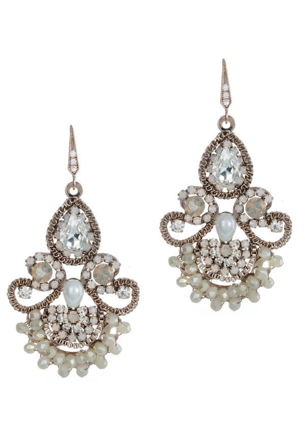 Moroccan chandelier earrings, Pearl Ivory combo, Antique gold finish