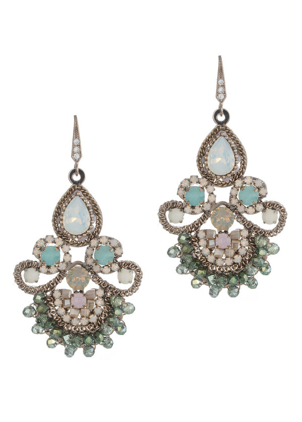 Moroccan chandelier earrings, Opal Green combo, Antique gold finish