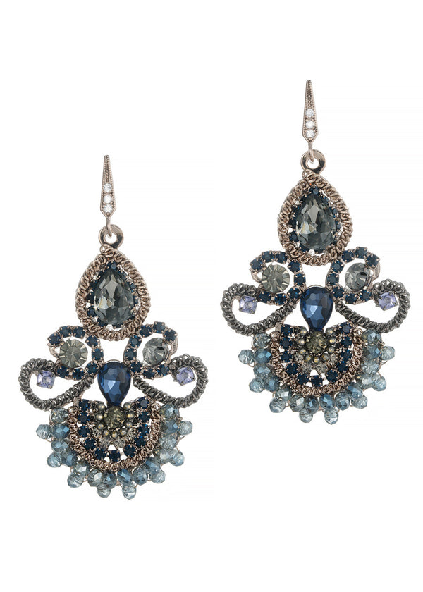 Moroccan chandelier earrings, Blue combo, Antique gold finish
