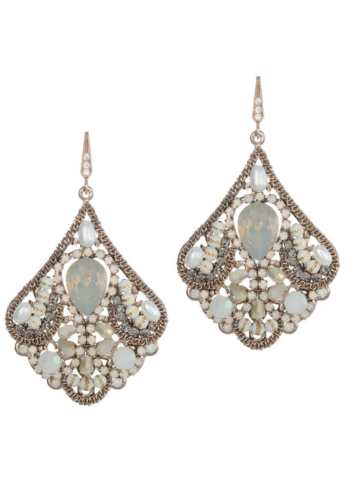 Cleopatra chandelier earrings, Pearl Ivory combo, Antique gold finish