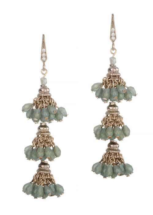 Florentine three tier drop earrings, Mat Green combo, Antique gold finish