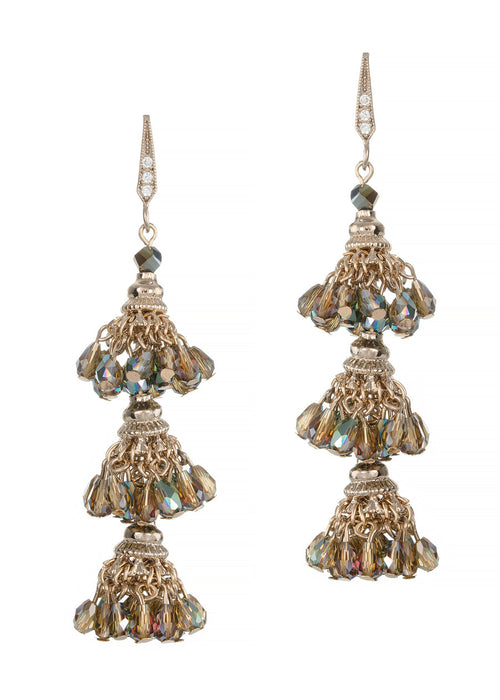 Florentine three tier drop earrings, Iridescent Green combo, Antique gold finish