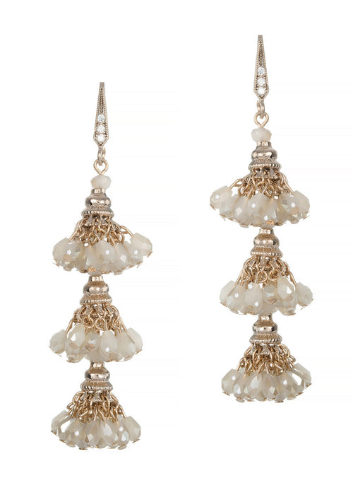 Florentine three tier drop earrings, Beige combo, Antique gold finish