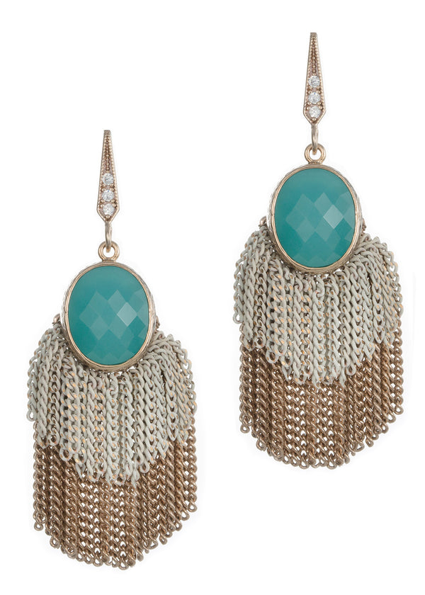 Faceted blue green agate  accented double tier tassel earrings, Antique gold finish