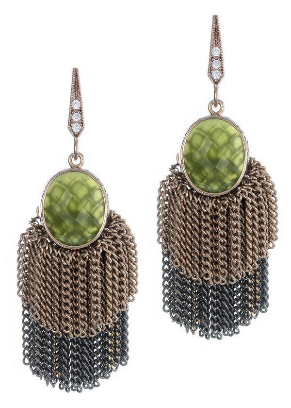 Faceted green agate  accented double tier tassel earrings, Antique gold finish