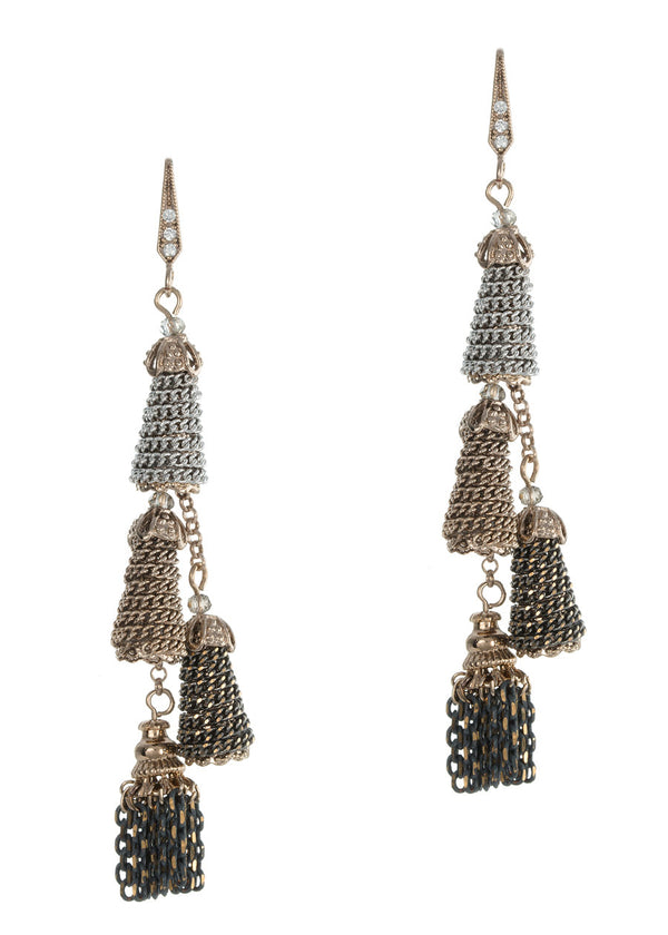 Venetian cone and tassel drop earrings, neutral combo, Antique gold finish
