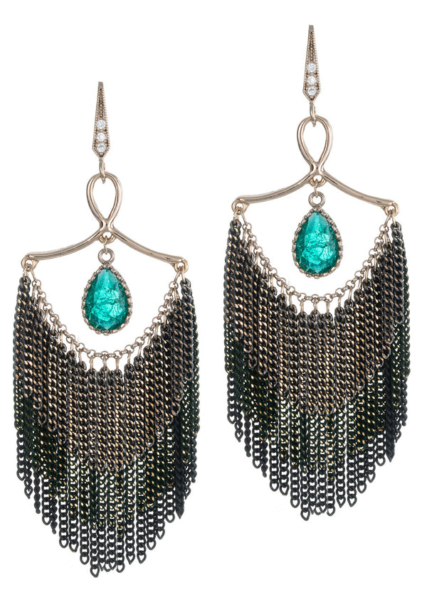 Modern and elegant Green emerald accented three layer tassel chandelier earrings, Antique gold finish