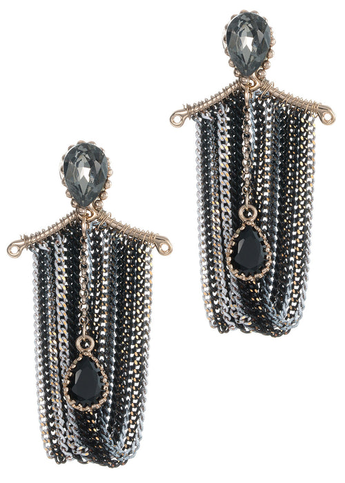 Elegant black diamond accent with jet CZ drop multi chain drape chandelier earrings, Multi finish