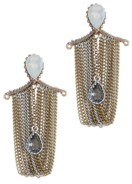 Elegant white opal Swarovski crystal accent with black diamond drop multi chain drape chandelier earrings, Multi finish