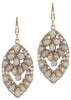Florentine oval drop earrings, Beige combo, Antique gold finish