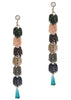 Pillar cut green Swarovski crystal accented 6 tier drop earrings, Multi finish