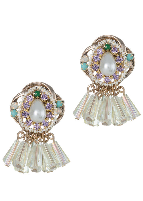 Venetian stud earrings adorning nine pillar cut Swarovski crystal drops, Clear combo, Antique gold finish