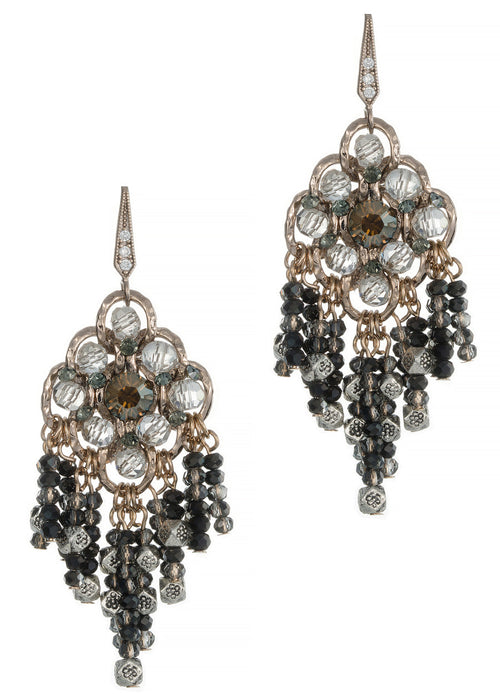 Casablanca chandelier Earrings with black diamond Swarovski crystal combo, Antique gold finish
