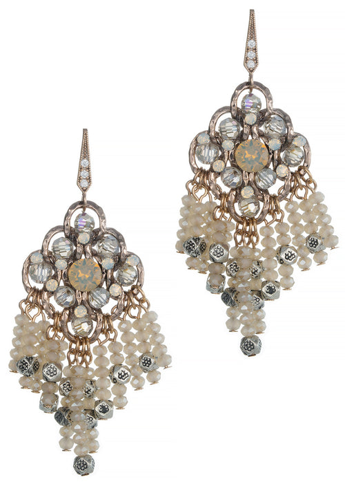 Casablanca chandelier Earrings with Opal Swarovski crystal combo, Antique gold finish