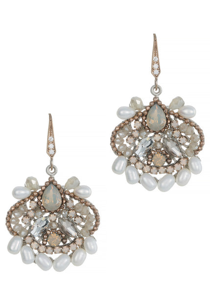 Versailles drop earrings with fresh water pearls, CZ and Swarovski crystals, Antique gold finish
