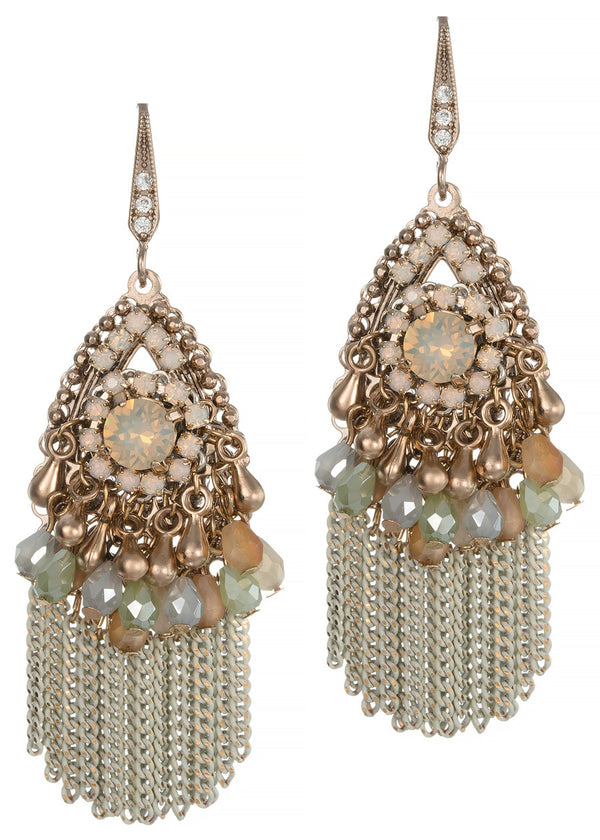 Audrey earrings with Swarovski crystals, and tassels, Antique gold finish