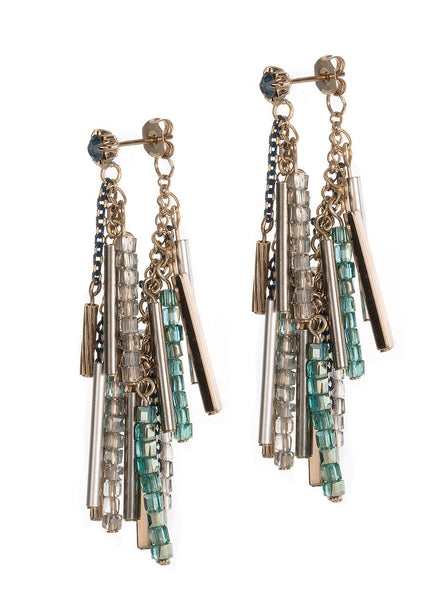 Soft hoop earrings (or linear drop) with Opal stud, bars and Swarovski crystals, Green combo, Antique gold finish