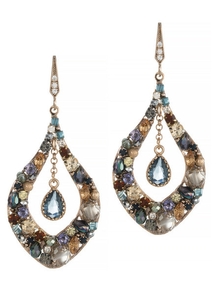 Florentine oval drop earrings with blue center drop accent, Antique gold finish