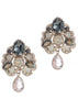 Florentine stud earrings with Black diamond Swarovski crystal accent and Peach drop, Antique gold finish