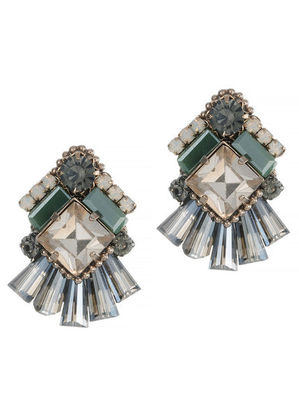 Venetian stud earrings with Swarovski crystals, Antique gold finish