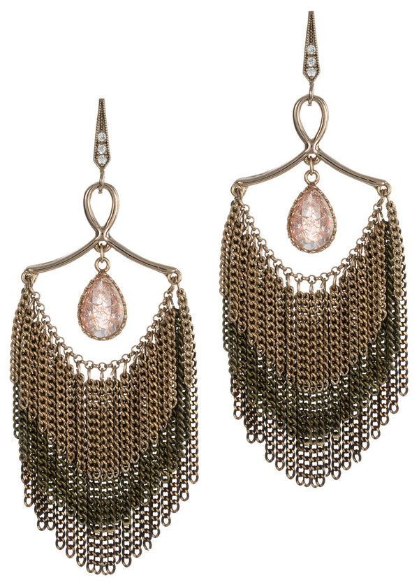 Modern and elegant Rose Quartz accented three layer tassel chandelier earrings, Antique gold finish