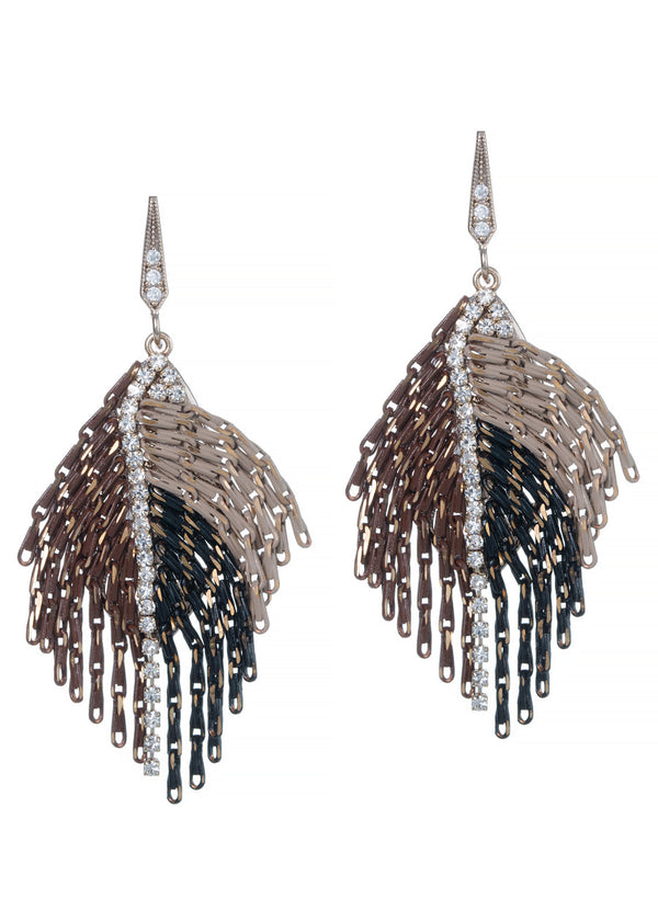 Modified angel wing earrings with draping chain work with CZ strip accent, Bronze combo, Multi finish
