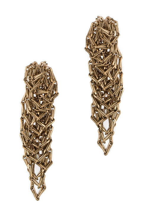 Urban chic special chain work drop earrings, Antique gold finish