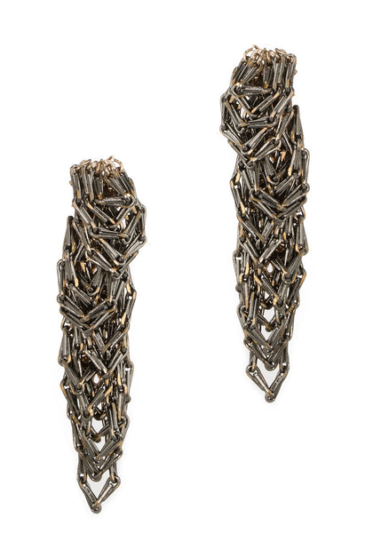 Urban chic special chain work drop earrings, Gun metal finish