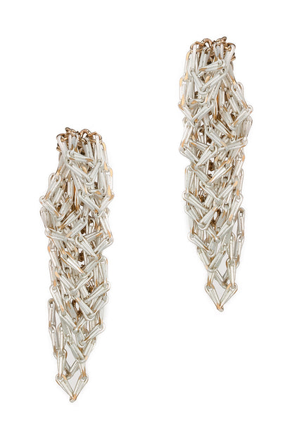 Urban chic special chain work drop earrings, White chain finish
