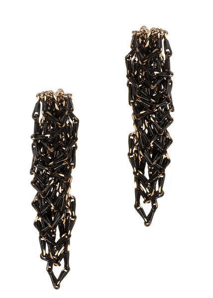 Urban chic special chain work drop earrings, Gold black finish