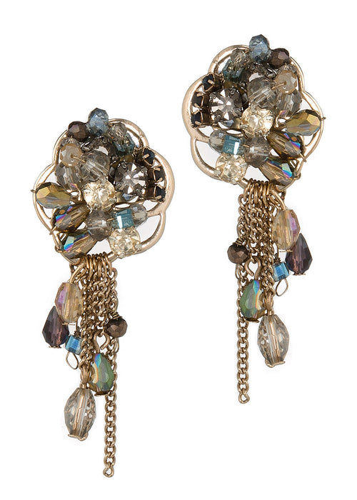Anemone earrings with morning drizzle, Antique gold finish, Blue combo
