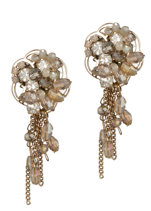 Anemone earrings with morning drizzle, Antique gold finish, Champagne combo