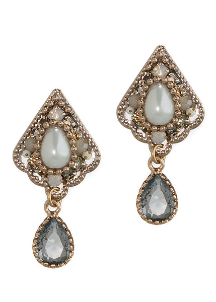 Pearl accented petite Victorian stud earrings with Black diamond drop, Antique gold finish