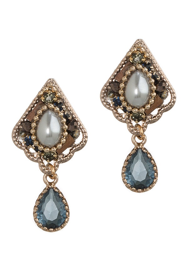 Pearl accented petite Victorian stud earrings with Blue topaz drop, Antique gold finish