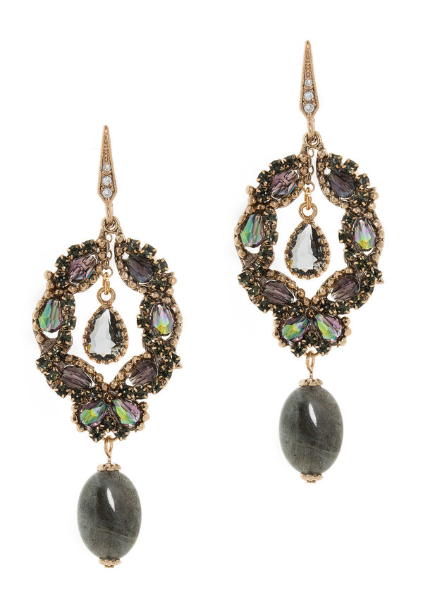 Athena chandelier earrings with Labradorite drop accent.  Antique gold finish